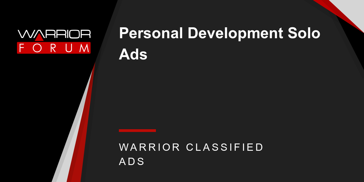 Personal Development Solo Ads - Warrior Forum - The #1 Digital