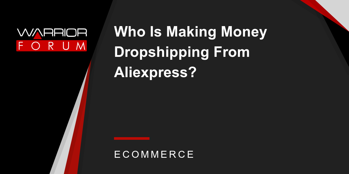 Who Is Making Money Dropshipping From Aliexpress? | Warrior