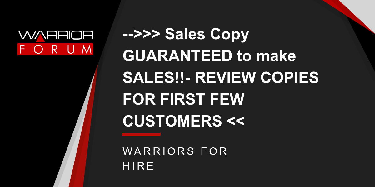 -->>> Sales Copy GUARANTEED to make SALES!!- REVIEW COPIES FOR FIRST FEW CUSTOMERS << Thumbnail