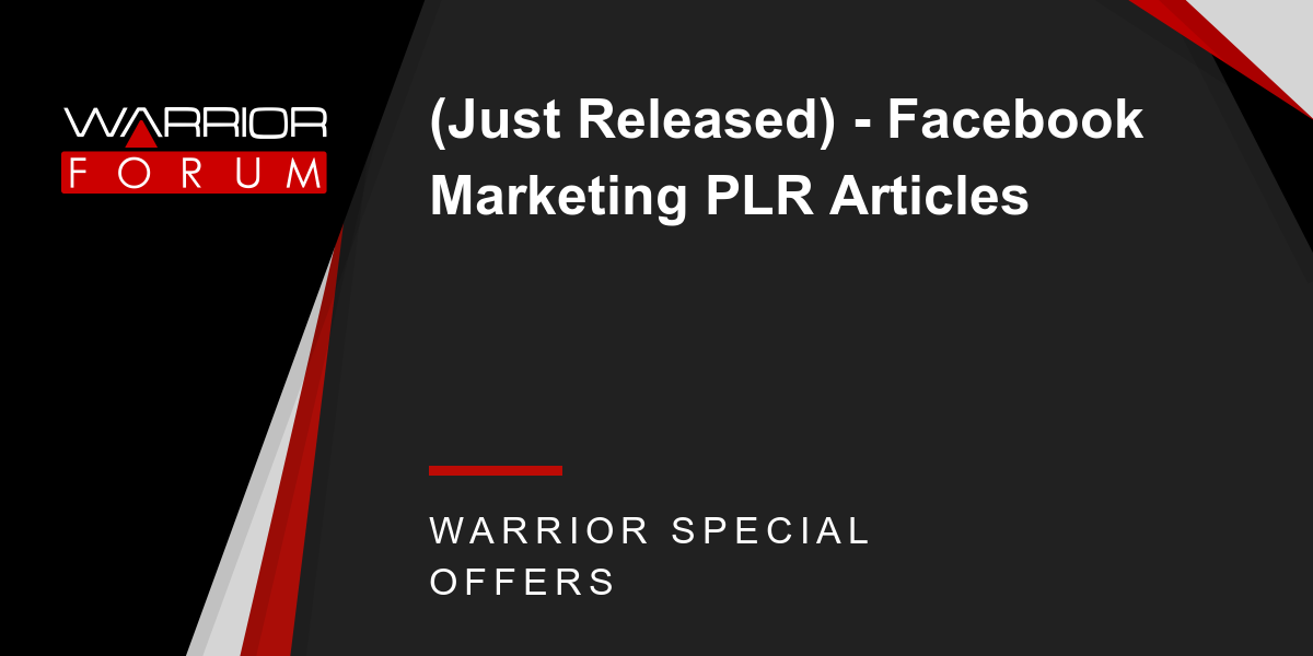 (Just Released) - Facebook Marketing PLR Articles Thumbnail
