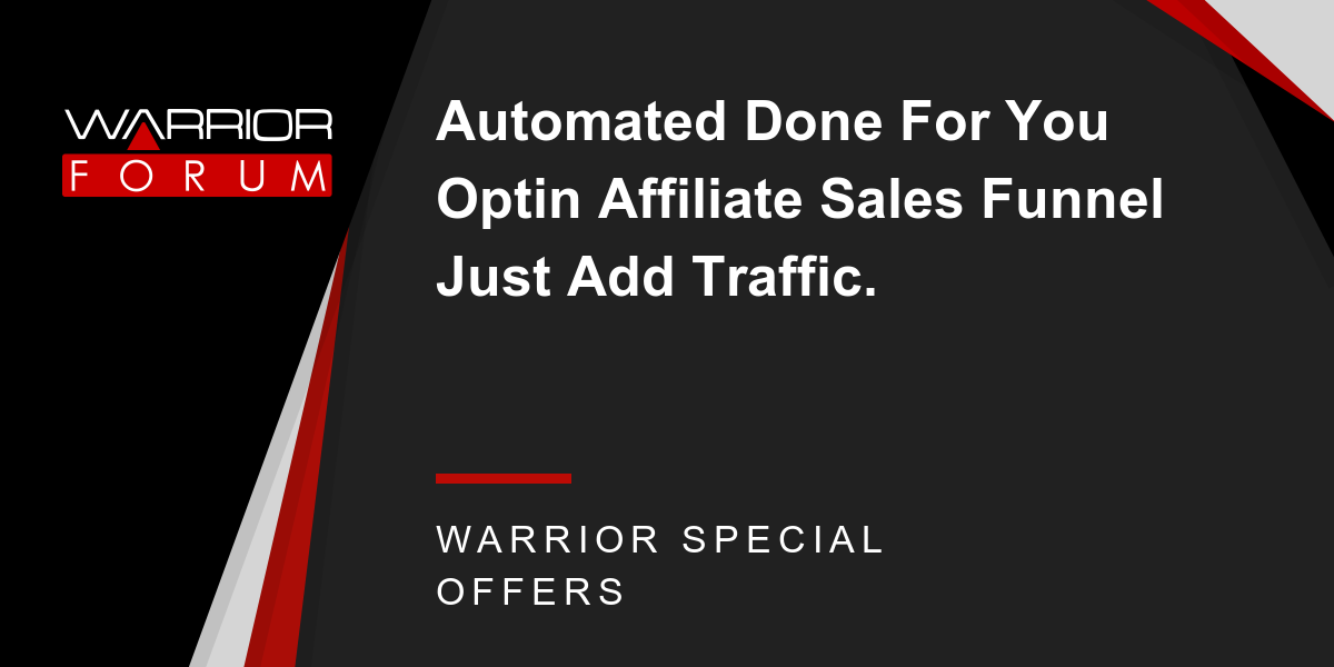 Automated Done For You Optin  Affiliate Sales Funnel Just Add Traffic. Thumbnail
