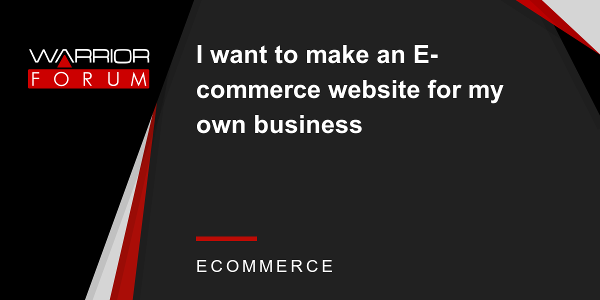 how to build my own ecommerce website