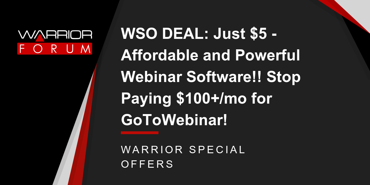 WSO DEAL: Just $5 - Affordable and Powerful Webinar Software!! Stop Paying $100+/mo for GoToWebinar! Thumbnail