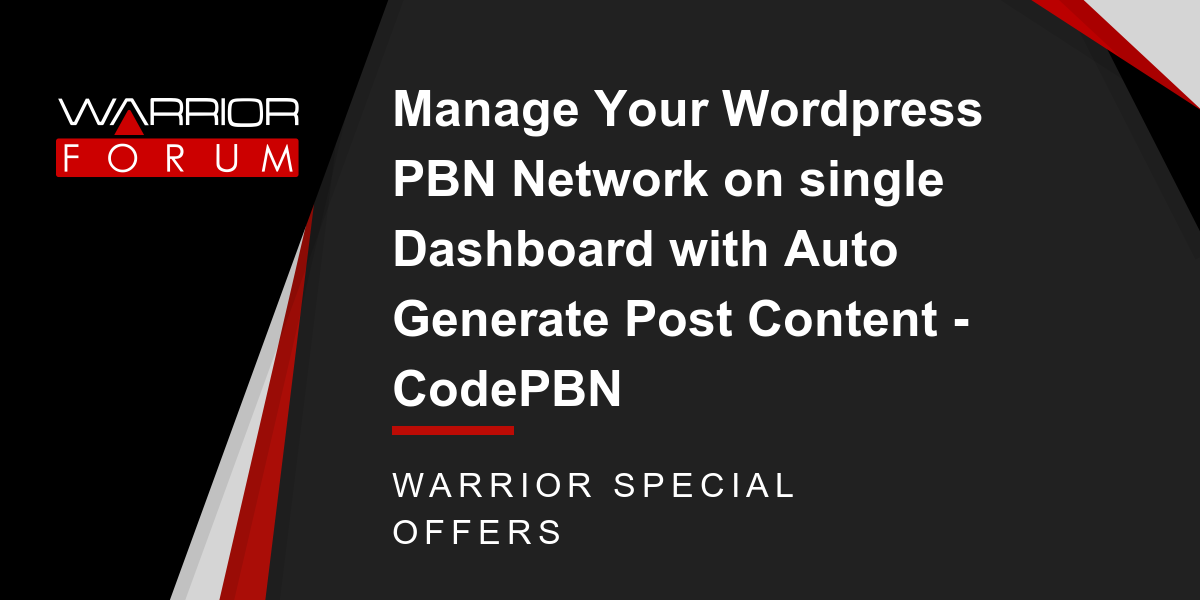 Manage Your Wordpress PBN Network on single Dashboard with Auto Generate Post Content - CodePBN Thumbnail