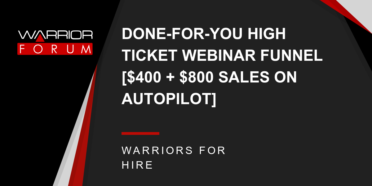 Marketing: DONE-FOR-YOU HIGH TICKET WEBINAR FUNNEL [$400 +