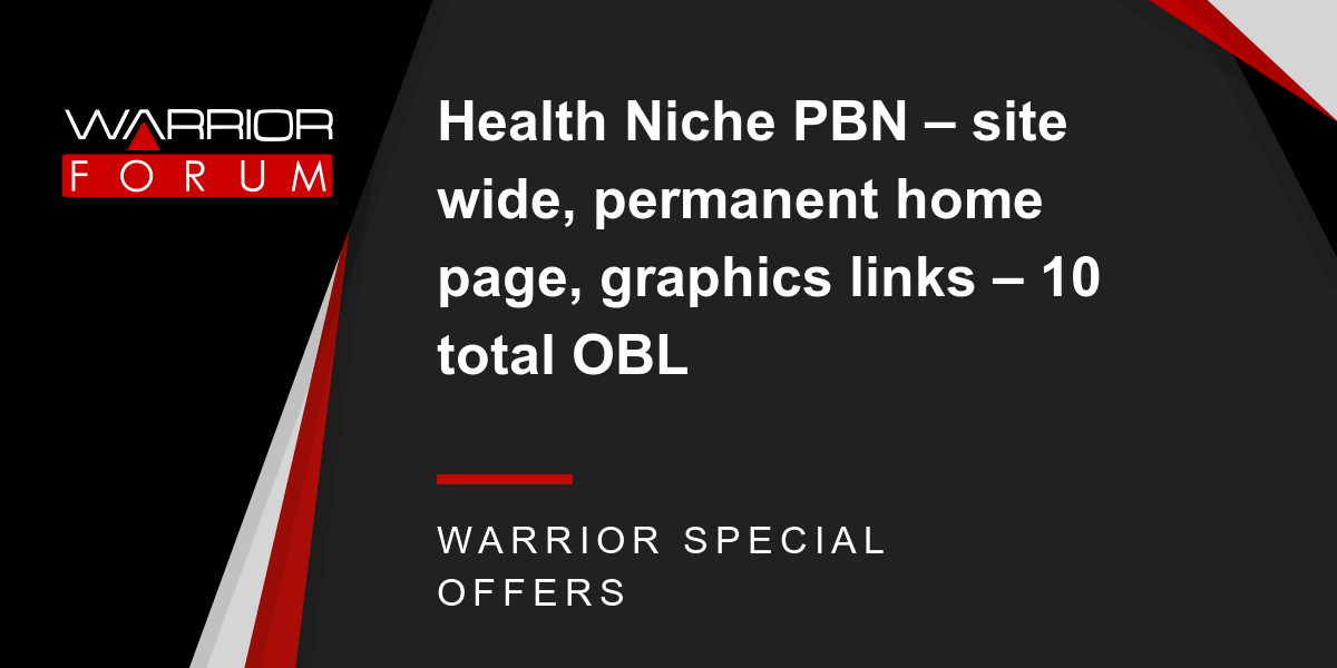 Health Niche PBN - site wide, permanent home page, graphics links - 10 total OBL Thumbnail