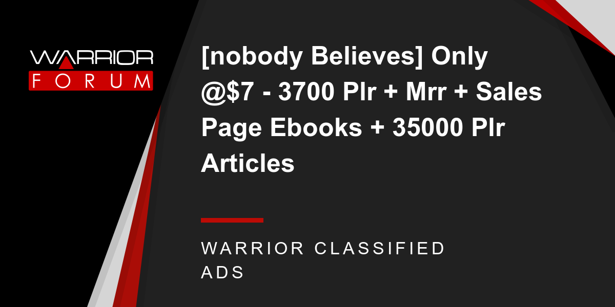 [NOBODY BELIEVES] Only @$7 - 3700 PLR + MRR + SALES PAGE EBOOKS + 35000 PLR ARTICLES Thumbnail
