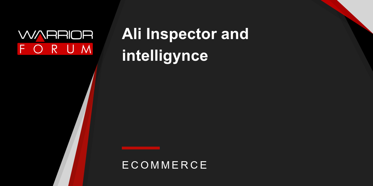 Ali Inspector and intelligynce | Warrior Forum - The #1