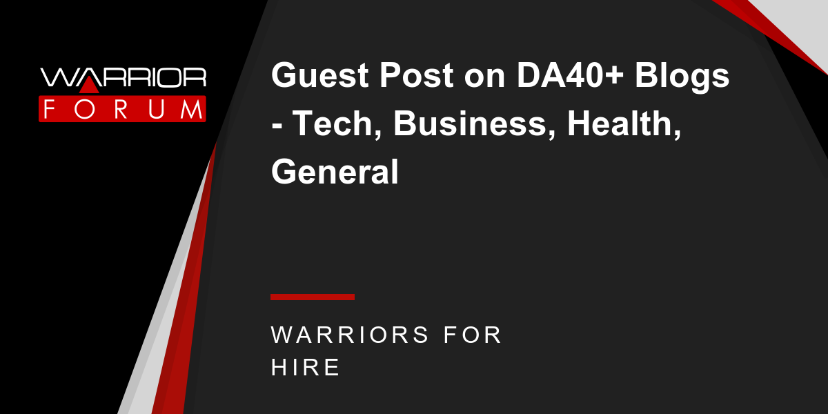 Guest Post on DA40+ Blogs - Tech, Business, Health, General