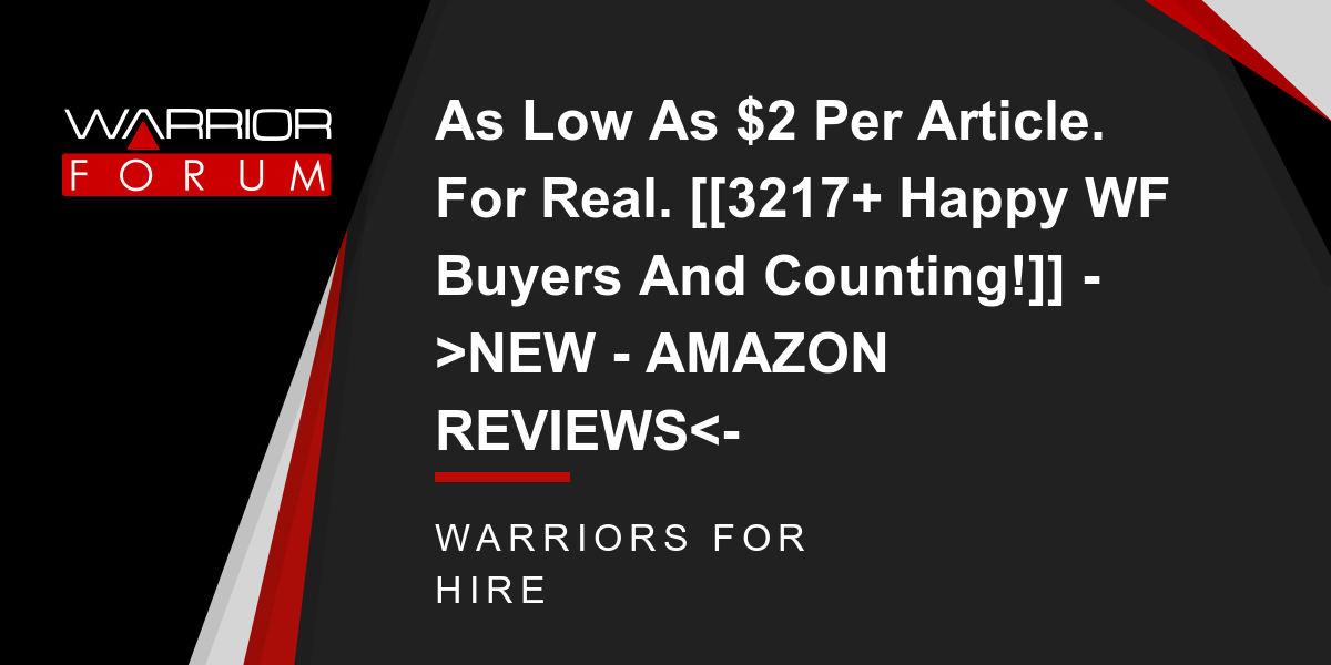 As Low As $2 Per Article. For Real. [[3217+ Happy WF Buyers And Counting!]] ->NEW - AMAZON REVIEWS<- Thumbnail
