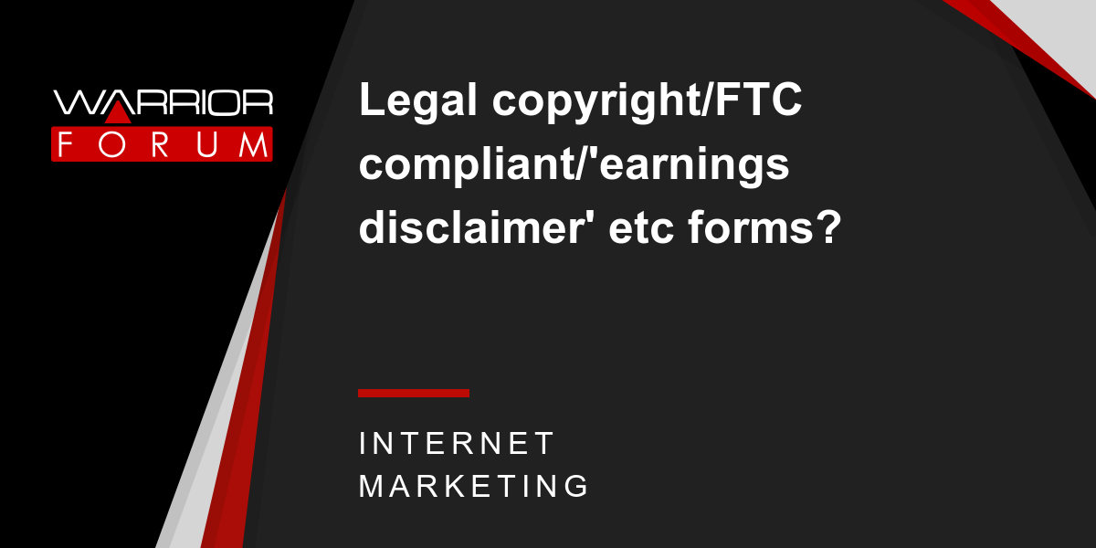 Earnings Disclaimer >> Legal Copyright Ftc Compliant Earnings Disclaimer Etc Forms