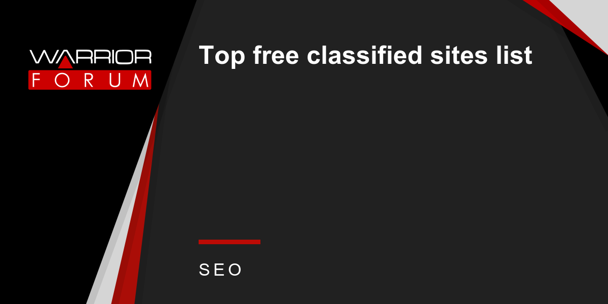 Top free classified sites list | Warrior Forum - The #1
