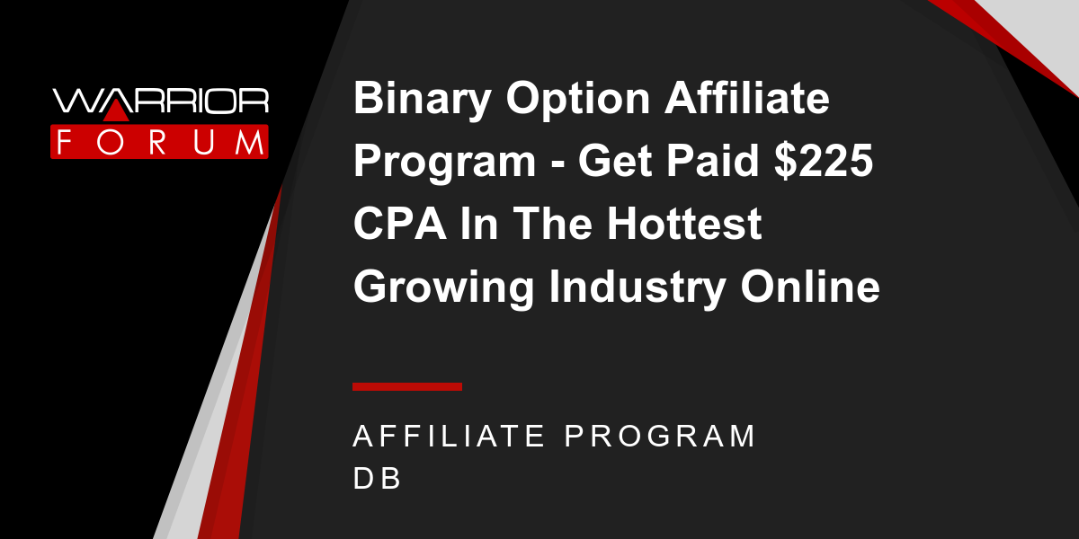 Binary options affiliate cpa