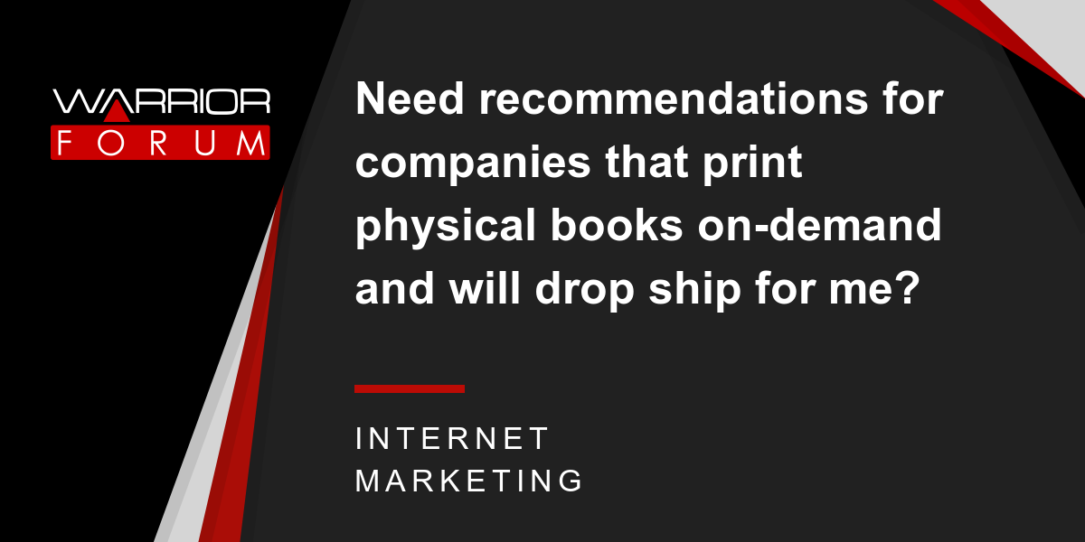 Need recommendations for companies that print physical books on