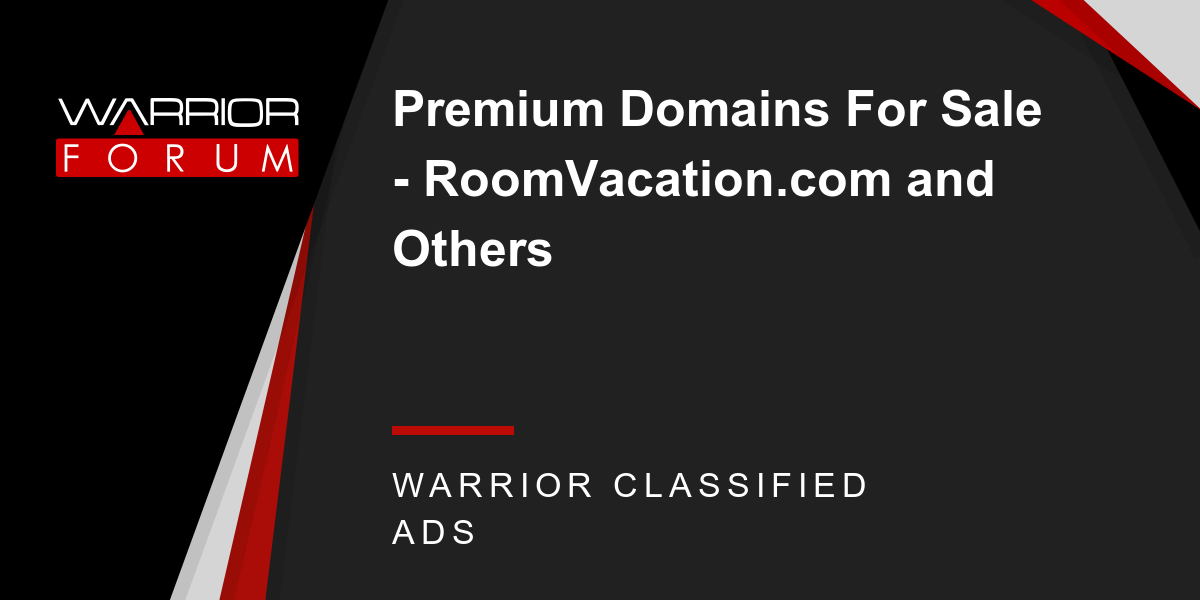 Premium Domains For Sale - RoomVacation com and Others