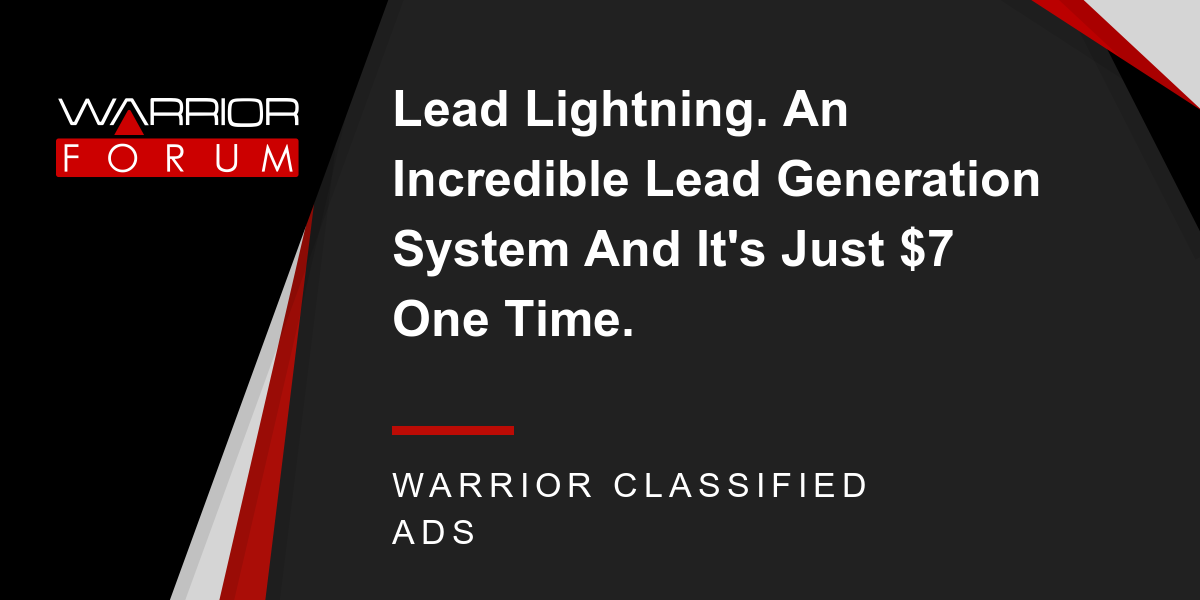 lead lightning an incredible lead generation system and it s just